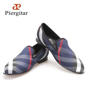 Piergitar Blue and white plaid canvas shoes Luxury brand men loafers black pig leather