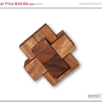 On Sale Burr Puzzle, Notched stick, wooden game, wooden puzzle, 100% handmade