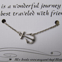 Best Friend Necklace with Sideways Anchor Charm and Friendship Quote Inspirational Card- Bridesmaids Gift - Friends Forever - Quote Gift