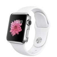 Apple Watch - 38mm Stainless Steel Case with White Sport Band