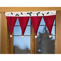 Santa Claus Hat Cap Valances for Home Decor Door Window Drape Panel Christmas Decorative Curtain Xmas Festival Indoor Decoration