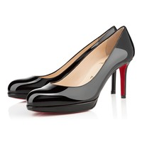 Best Online Sale Christian Louboutin Cl New Simple Pump Black Patent Leather 85mm Stiletto Heel Classic