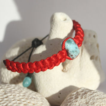 Dominican Larimar Red Macrame Surfer Bracelet beach summer turquoise blue dolphin surf unisex boho stone men women