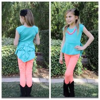 Aqua Back Bow Top - Ryleigh Rue Clothing by MVB