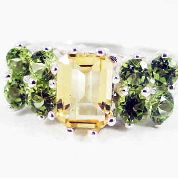Citrine and Peridot Accented Sterling Silver Ring Emerald Cut, November Birthstone Ring, Golden Citrine Ring, Peridot Ring, 925 Citrine Ring