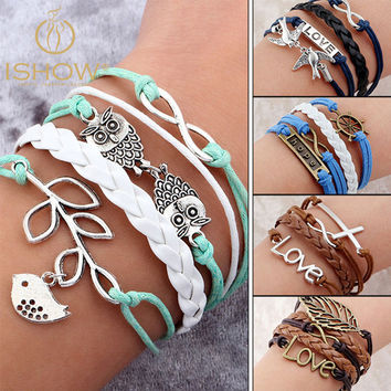 Women's Infinity Rope Charm Bracelet Vintage Bird Tree Owls Leather Bracelet Multi-layer Fashion