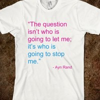 THE QUESTION ISN'T WHO IS GOING TO LET ME QUOTE T-SHIRT (PINK BLUE ART)