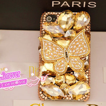 Bling iPhone 5 case,Swarovski Crystals iPhone cases,Butterfly iPhone 5 Case, Butterfly iPhone 4 Case, champagne iphone case, A94