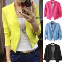 2014 New Brand Long Sleeve Blazer Feminino Blaser Women Candy Color S/M/L = 1930375940