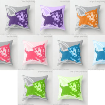 """Here Kitty, Kitty Graphic Print 16"""" x 16"""" Throw Pillow Cover - Couch Art, Cat, Kitten, Cats, Neon Florescent, Hot Pink, Orange, Chartreuse"""