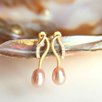 Earrings:Gold plated brass earring hooks with pink pearls, gold plated studs earring five zircon crystals on the hook, christmas wedding