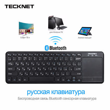 TeckNet Wireless Bluetooth Touch Russian Keyboard with Touchpad For Windows PC, Smart TV and Android OS Tablet, Russian Layout