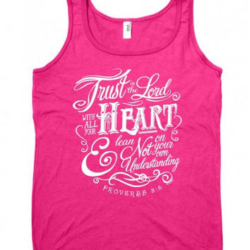 Cherished Girl Trust in the Lord With All Your Heart Girlie Christian Bright Shirt Tank Top
