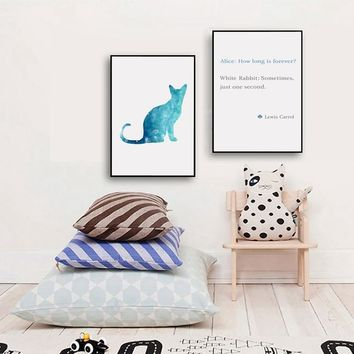Alice in Wonderland Poster Canvas Art Print , How Long Is Forever Love Cat Wall Picture Canvas Painting Bedroom Wall Art Decor