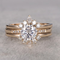 6.5mm Round Moissanite Wedding Set 14k Yellow Gold Bridal Ring Pave Art Deco Unique Design