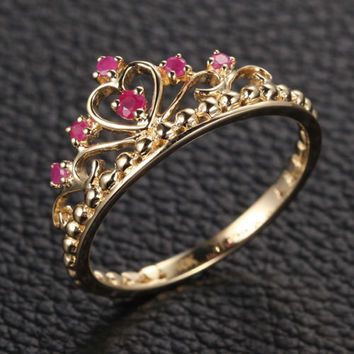 Red Crown Rubies Engagement Ring Anniversary Band in 14K Yellow Gold
