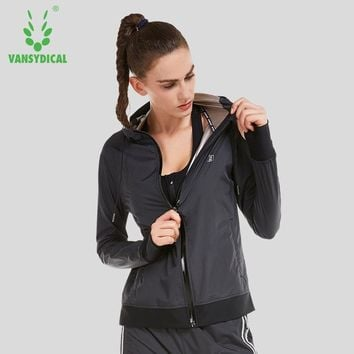 Vansydical 2018 Women Running Hooded Jackets Fitness Workout Tops Zipper Training Clothes Female Hot Sweat Sports Jackets