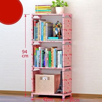 Creative Adjustable Bookcase Easy Assembly DIY 4-Tier Bookshelf