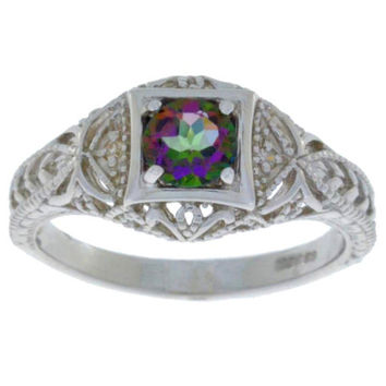 Natural Mystic Topaz & Diamond Round Ring .925 Sterling Silver