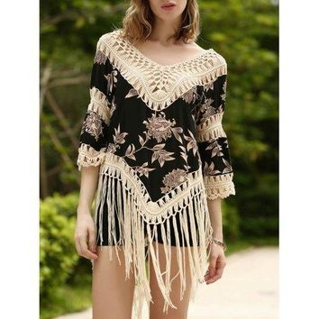 Long Fringe Printed Beach Tunic Cover Up - Apricot One Size(fit Size Xs To M)