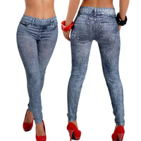 2017 free shipping hot sale Womens Denim Snowflake Skinny Stretch Sexy Pants Soft Tights Leggings jeans