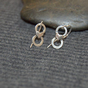 tiny infinity earrings, silver heart earrings, sterling silver dainty earrings, minimalist earrings, tiny dangle earrings, everyday earrings