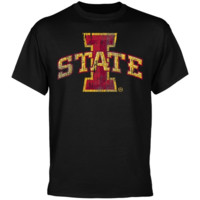 Iowa State Cyclones Black Distressed Logo T-shirt