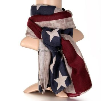 ICIKL3Z 2016 New American Flag Scarf Vintage USA Flags Infinity Scarves  Long Scarf Cotton for Men Women