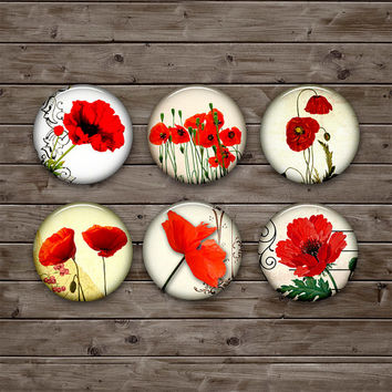Red Poppies 25mm, 20mm, 18mm, 16mm, 12mm Circle Images for Earrings, Cuff Links - Flowers  - Digital Collage Sheet Instant Download