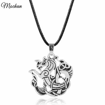 Mens Dragon Gothic Fantasy Norse Vikings Choker Necklace Antique Silver Color Dragon Celtic Pendant Charm Jewelry Gifts
