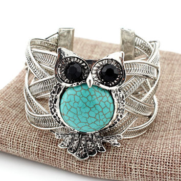 Vintage Owl Silver Bracelets with Turquoise Stone Bangle