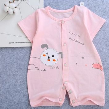 Cotton Baby Jumpsuit Short-Sleeved Baby Clothes Baby Clothing Newborn Baby Romper Pink/9M