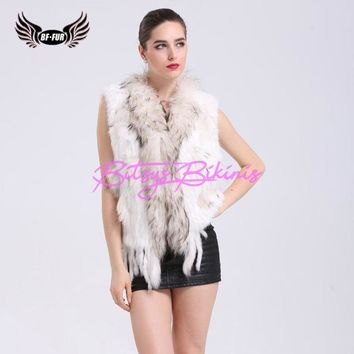 BF FUR Knitted Rabbit Fur Vest Women Tassel Real Raccoon Fur Collar Winter Natural Ladies Fashion Knitted Fur Vests BF-V0001