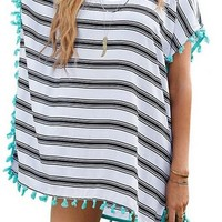 Women's Cover-ups Stripes Pompom Trim Chiffon Beachwear Dress