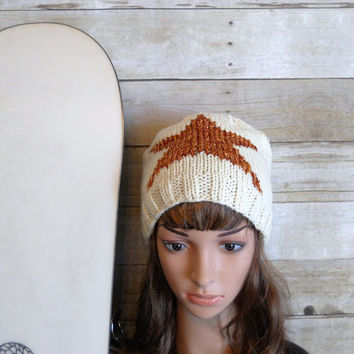 Copper Star Beanie, Winter White Slouchy Beanie with Large Star, Hand Knit Hat, Copper and White Beanie, Snowboard Beanie, Star Design Hat