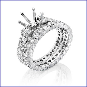 Gregorio 18K White Diamond Engagement Ring and Band  H-899