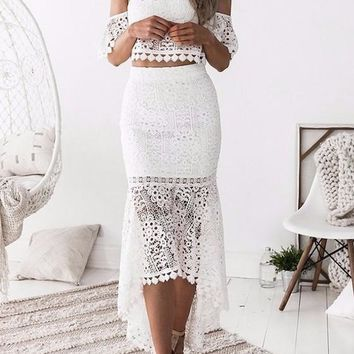 New White Lace Swallowtail Mermaid Off Shoulder Backless Two Piece Party Maxi Dress