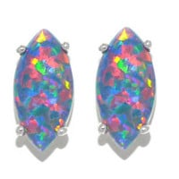 3 Carat Black Opal Marquise Stud Earrings .925 Sterling Silver Rhodium Finish White Gold Quality
