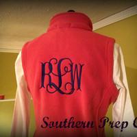 Monogrammed Ladies FITTED FLEECE VEST by SouthernPrepCo on Etsy
