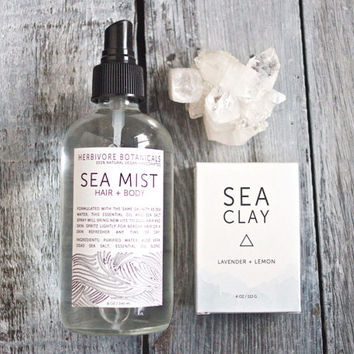 Sea Minerals Gift Set. Sea Mist Beach Wave Hair Spray. Sea Clay Soap. Spa Gift Set. Vegan. 100% Natural.