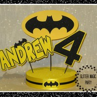 Batman Centerpiece Personalized with Name and Age, Batman Party - Batman Party Decoration, Batman Inspired Party