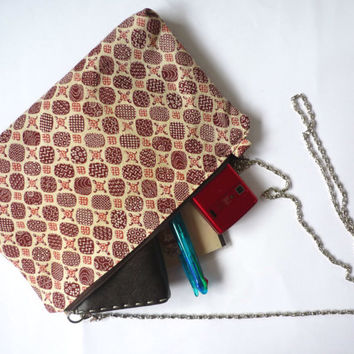 Small cross bodybag with dark red silk from Japanese vintage kimono, silk evening bag with metal strap