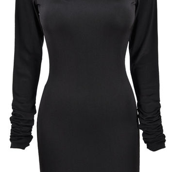 I Stand Alone Long Sleeve Scoop Neck Mini Bodycon