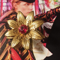 Vintage Flower Brooch, Vintage Jewelry, Gold Petals With A Red Glass Center