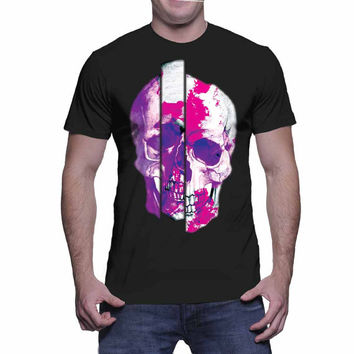 Crazy Purple Skull Graphic Tee (mj-os-NL3900-crazyskull-mltclr)