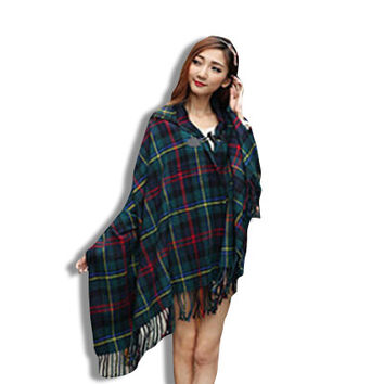 Womens Forest Green Oversized Poncho