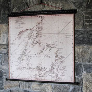 Famous Old Map Newfoundland James Cook 1775 Canvas Antique Wooden Iron Pirate Frame Labrador St. John's Corner Brooke Gulf Of St. Lawrence
