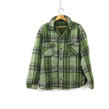 Vintage THICK Flannel Coat Green Black Plaid Hunting Work Jacket 70s Heavy Insulated Coat Rustic Field Jacket Mens Large