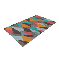 "Michelle Drew ""Mountain Peaks I"" Orange Teal Woven Area Rug"