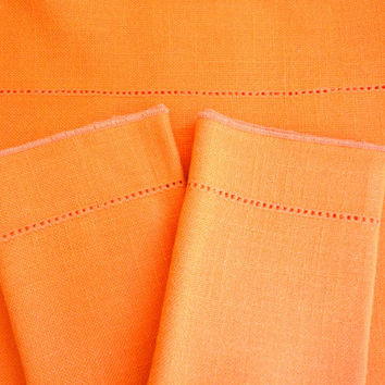 Vera Neumann Linen Orange Tablecloth and 10 Napkins in Great Condition